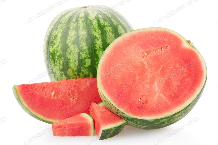 Watermelon group with section and slices isolated on white, clip