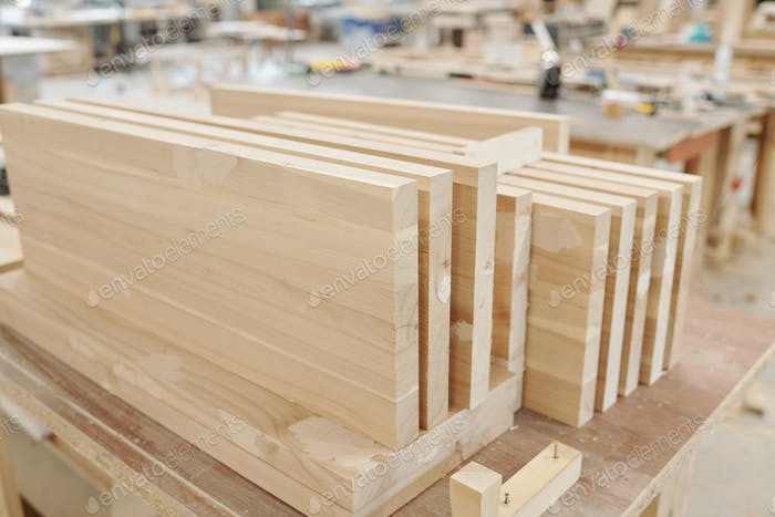 Set of thick large wooden boards or workpieces for production of furniture