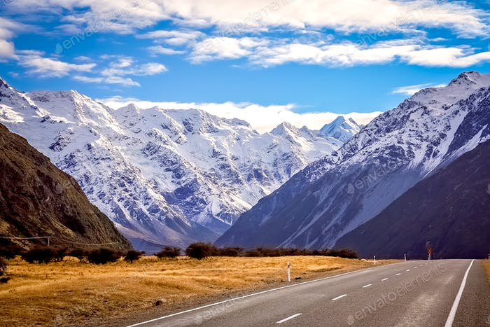 Mountain Scenery of New Zealand South Island