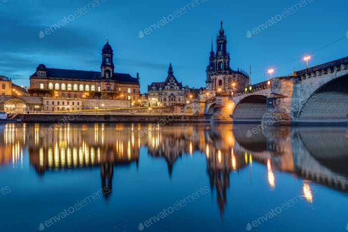 Downtown Dresden and the river Elbe