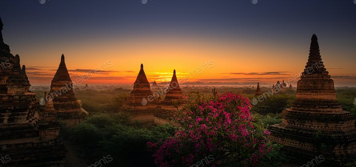 Bagan City Myanmar Burma Beautiful Sunrise Panorama over the Bri