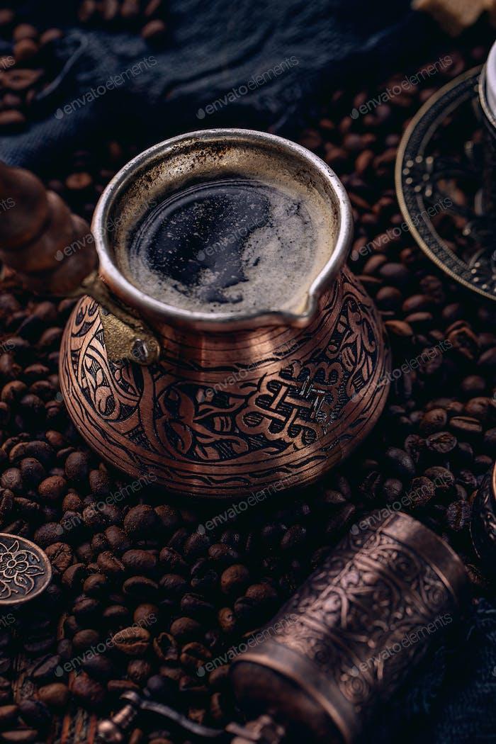 Freshly made Turkish coffee