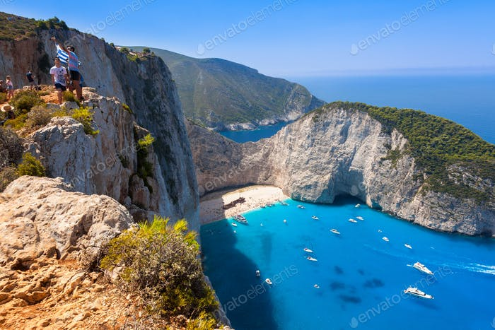 Navagio beach from  Shipwreck cliff view in Zakynthos (Zante) is