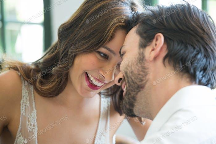Romantic couple spending leisure time in restaurant