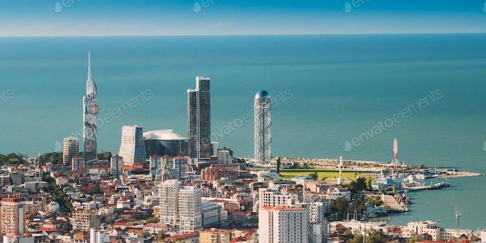 Batumi, Adjara, Georgia. Top View Of Urban Cityscape At Sunny Su