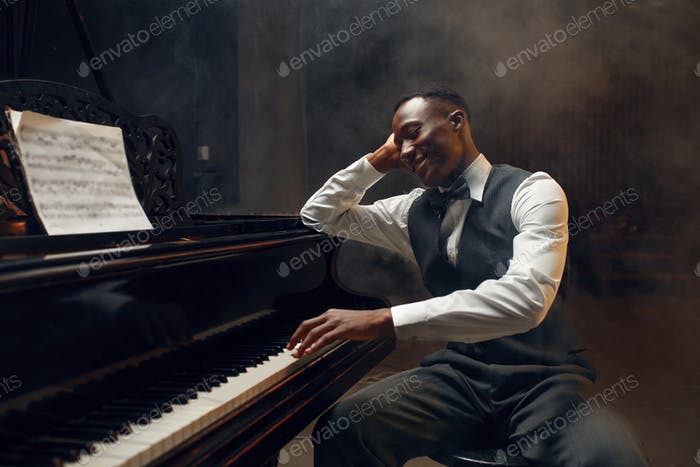 Black grand piano player, jazz performer