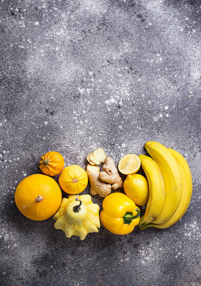 Assortment of yellow fruits and vegetables