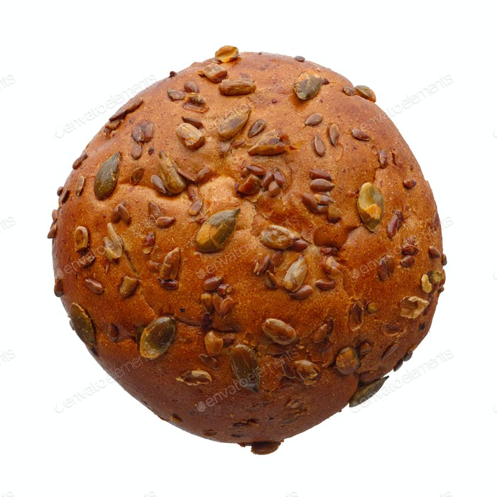Single round multigrain bun