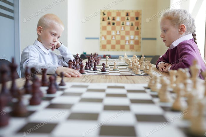 Schoolchildren playing chess