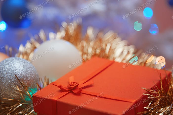 Close-up view on the Christmas decoration and gift box