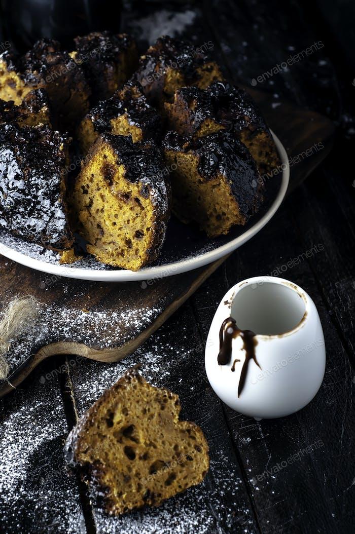 cake with jam and chocolate
