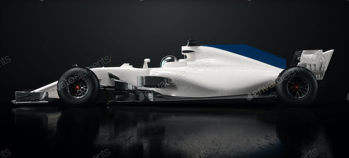 White race car side perspective