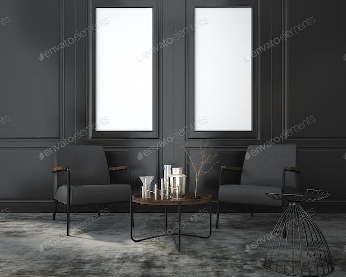 3d рендеринг макет живого кресла рядом с классической черной стеной и окном в комнате