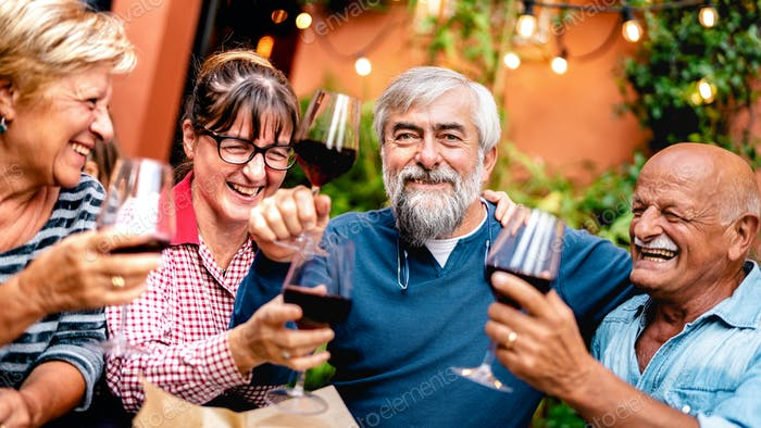 Happy senior friends having fun toasting red wine at dinner party