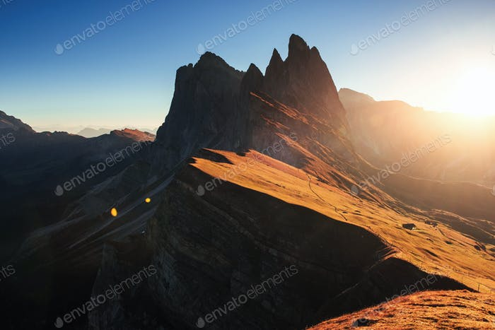 Gorgeous nature. Beautiful sunset in the Italian majestic Seceda dolomite mountains