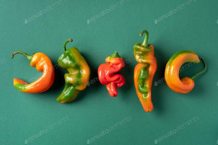 Ugly bell pepper on green background. Concept of zero waste production. Top view. Copy space. Non