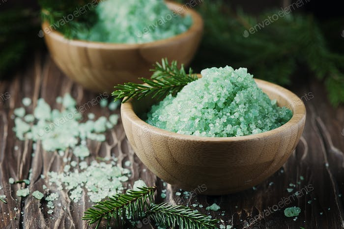 Concept of spa with salt and pine branches