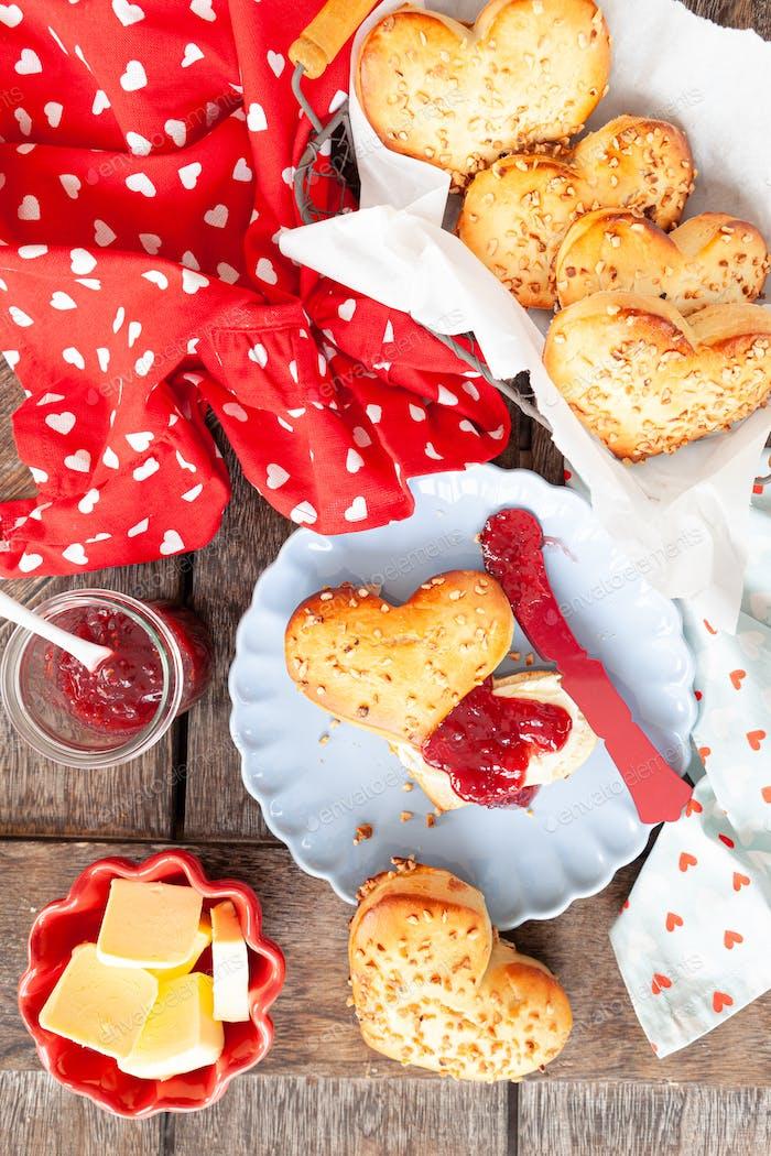 Homemade bread rolls in a heart shape