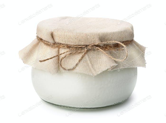 Pot of homemade organic yogurt