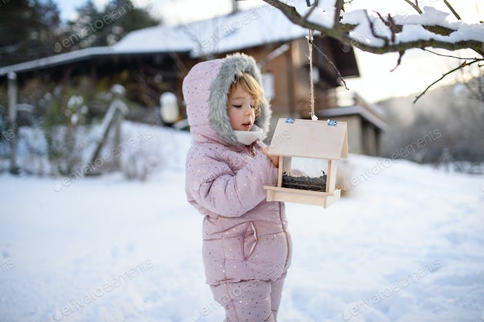 Small girl outdoors in winter garden, standing by wooden bird feeder.