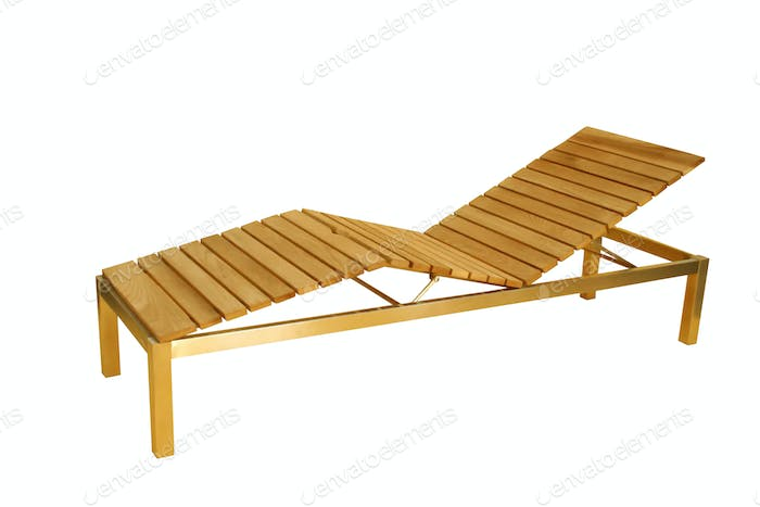 Wooden deck chair isolated on white