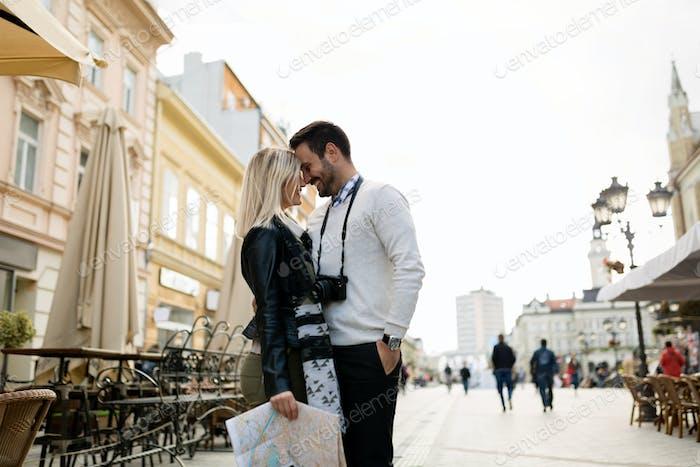 Couple enjoying sightseeing and exploring city