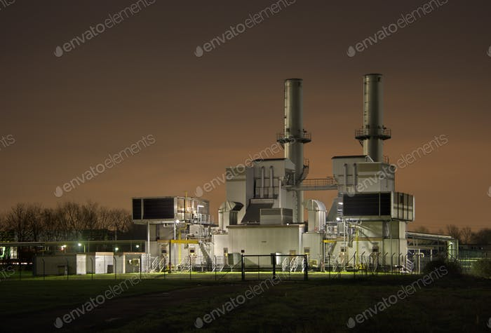 Gas Compressor Station At Night