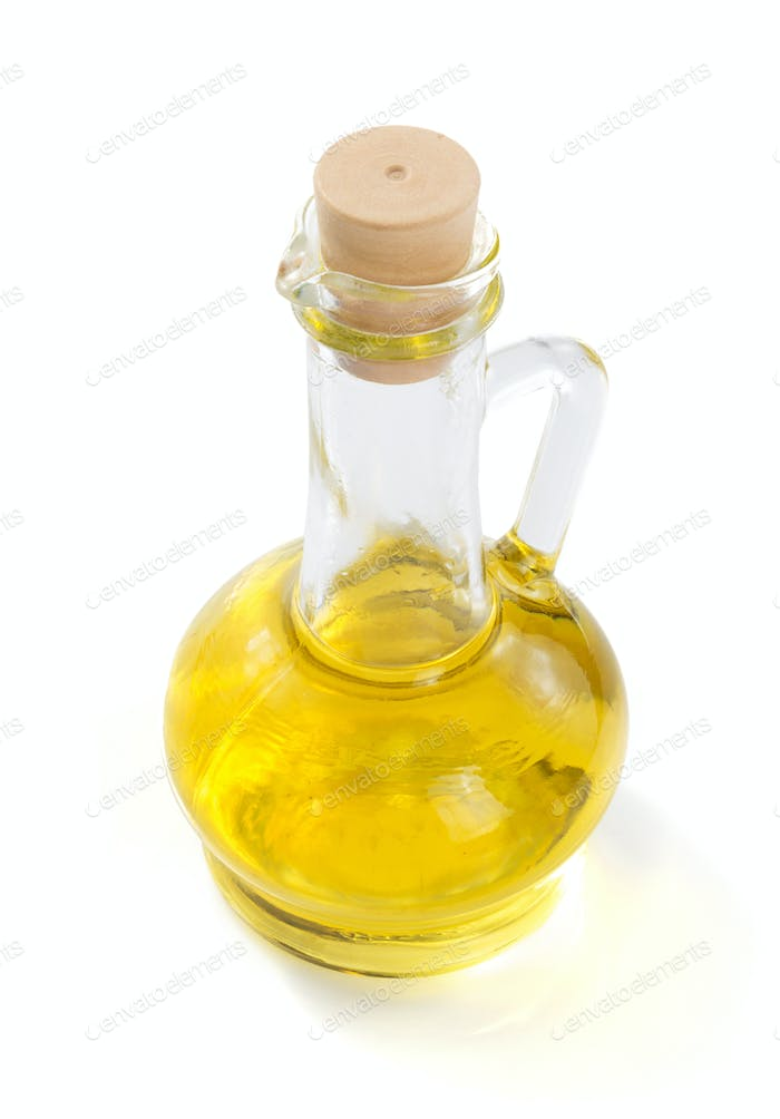 bottle of oil at white background