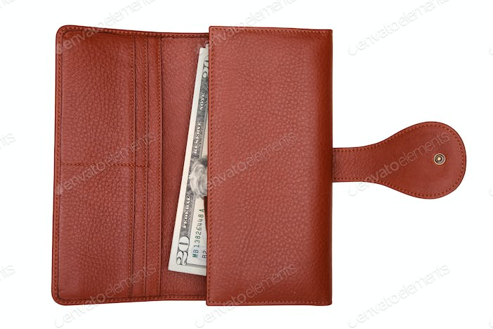 Brown natural leather wallet with money