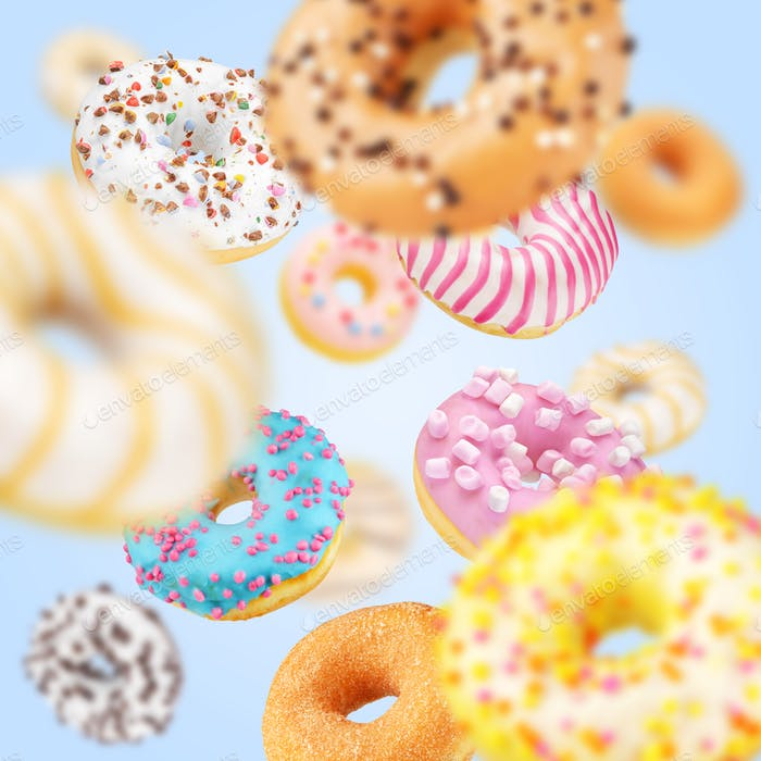 Lot of multicolored donuts