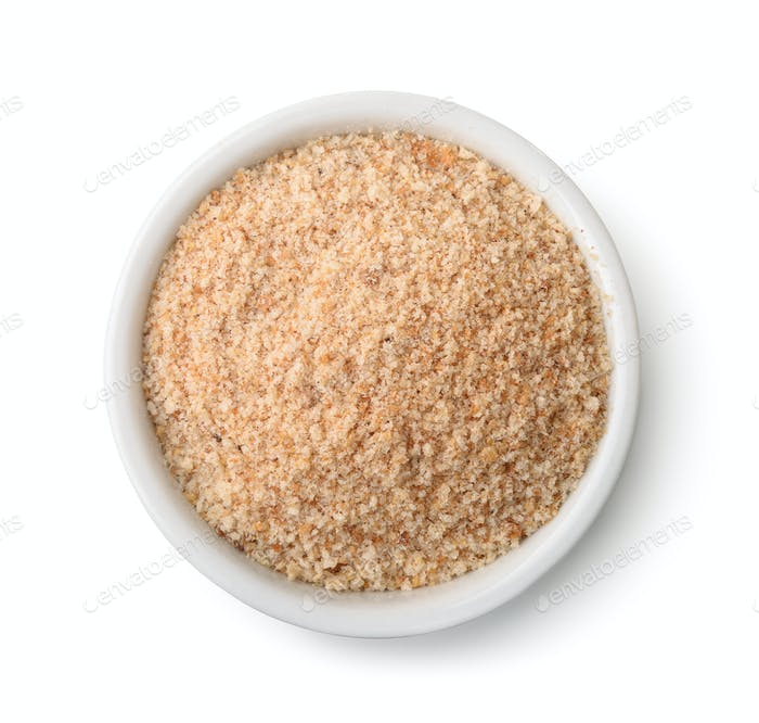 Top view of bowl full of breadcrumbs