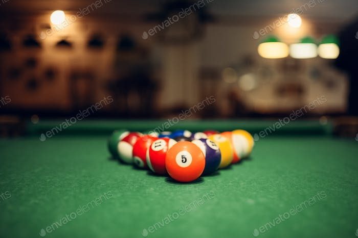 Billiard balls on green table, american pool