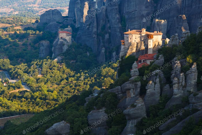 Greece. Meteora - incredible sandstone rock formations. The Holly Monastery at sunrise
