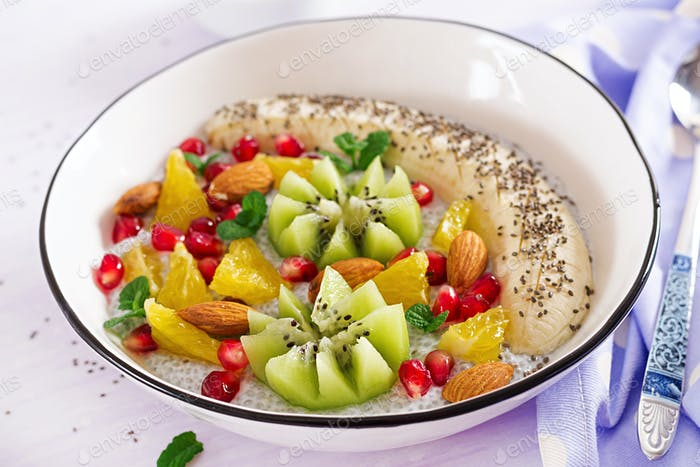 Delicious and healthy chia pudding with banana, kiwi and chia seeds.