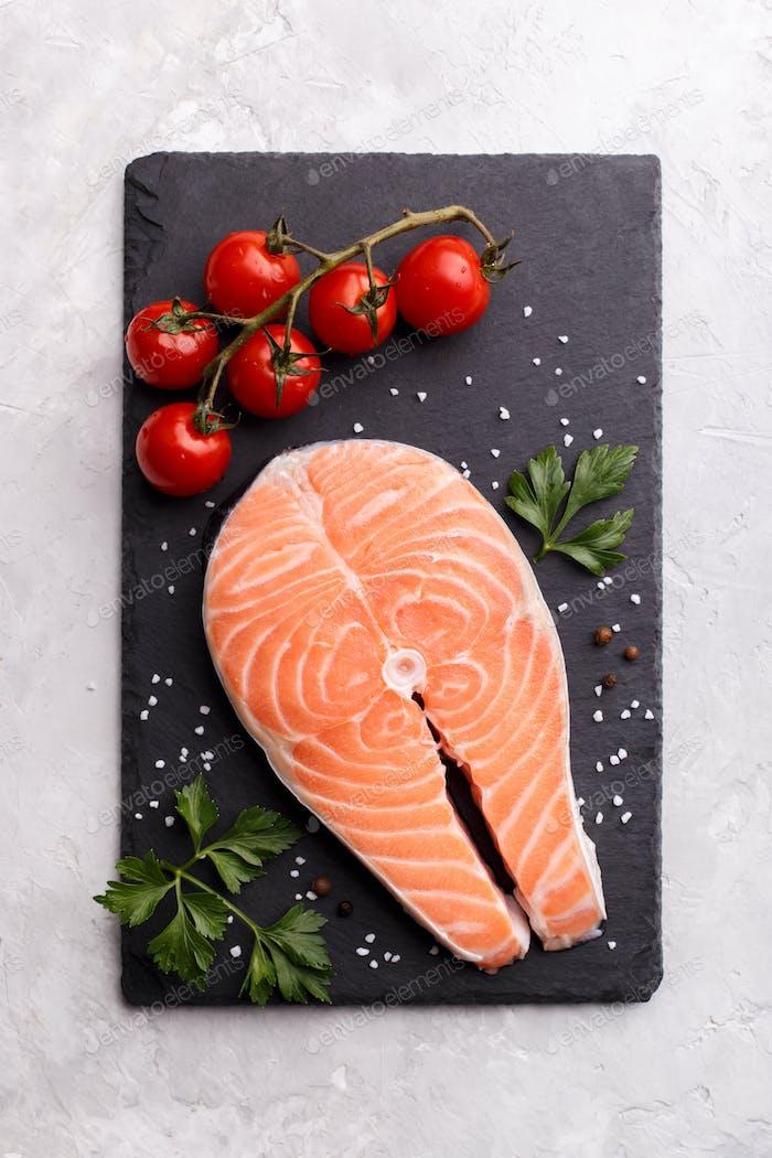 Slice of salmon fish