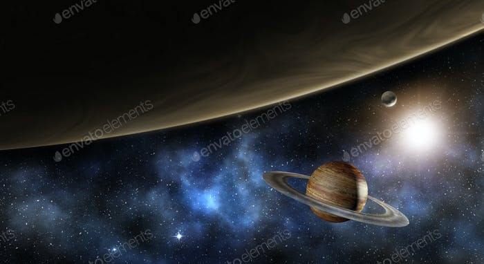 jupiter, saturn and the milky way, 3d illustration