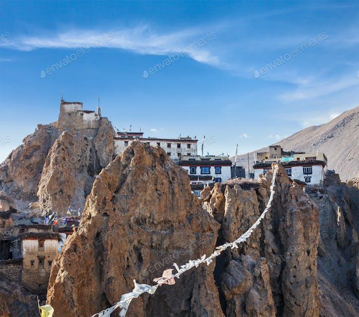 Dhankar gompa (Tibetan Buddhist monastery) and prayer flags (lun