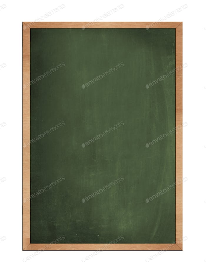 Blank old blackboard isolated on white background