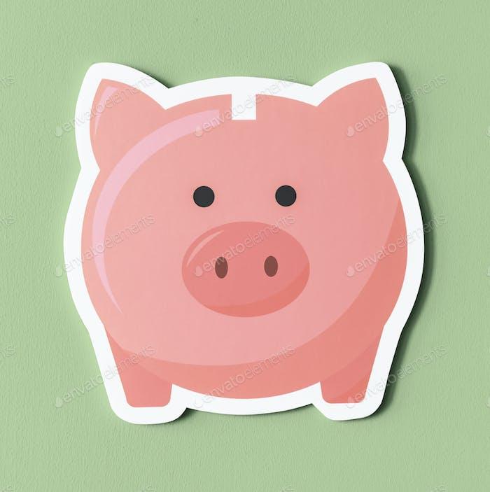 Pink piggy bank savings icon