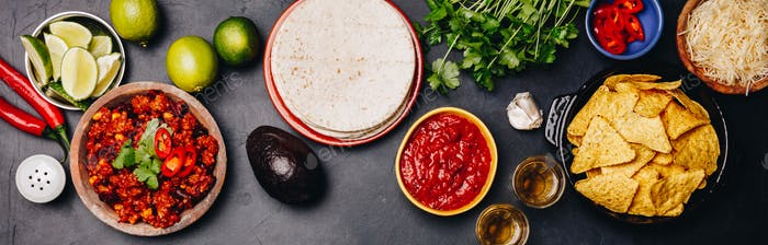 Concept of Mexican food, flat lay, dark background