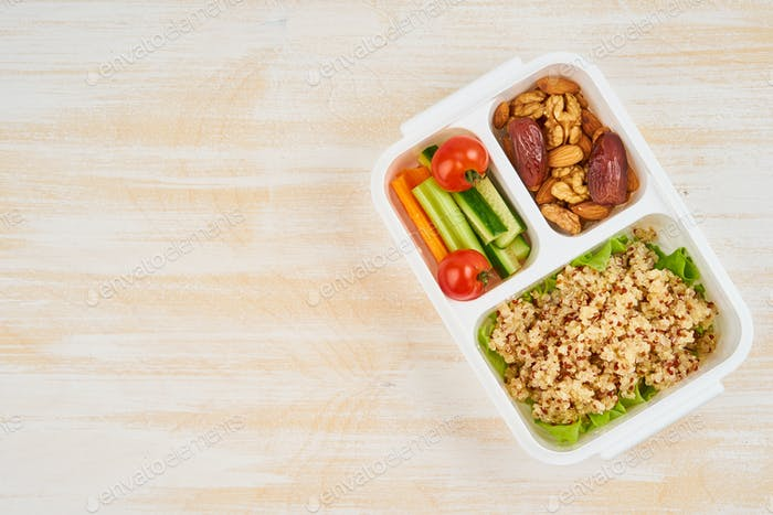 Vegan lunch box, copy space. Healthy vegetarian menu, weight loss, healthy lifestyle