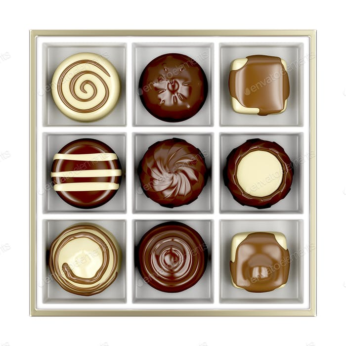 Box with chocolate candies