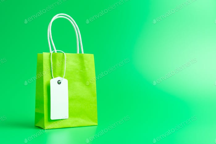 Green shopping or gift bag isolated on green background