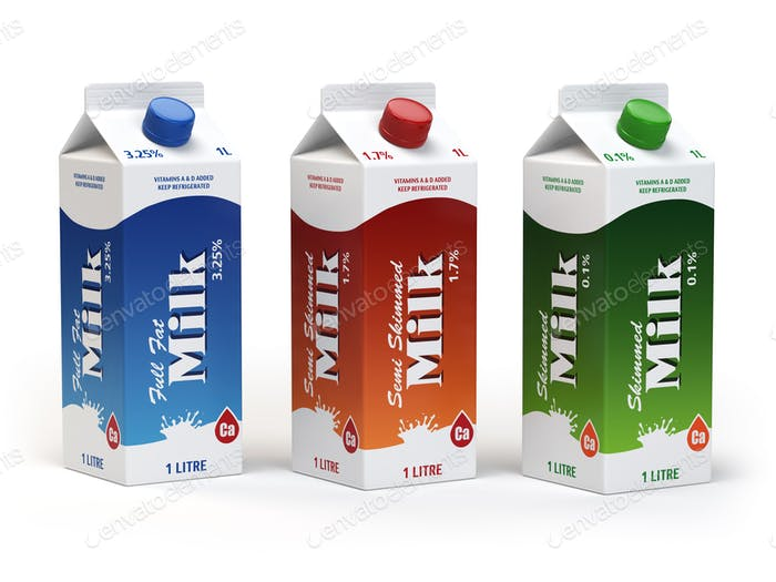 Milk carton packs isolated on white. Milk boxes.