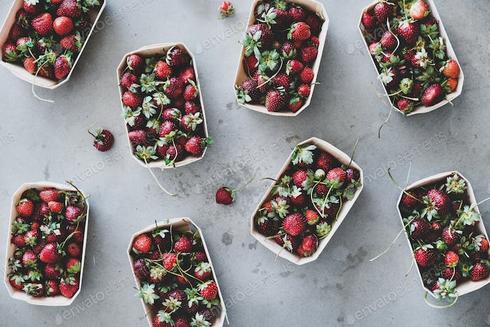 Fresh garden strawberries in eco-friendly boxes over grey background