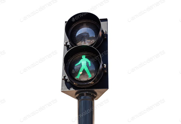 Pedestrian green traffic light isolated on white background