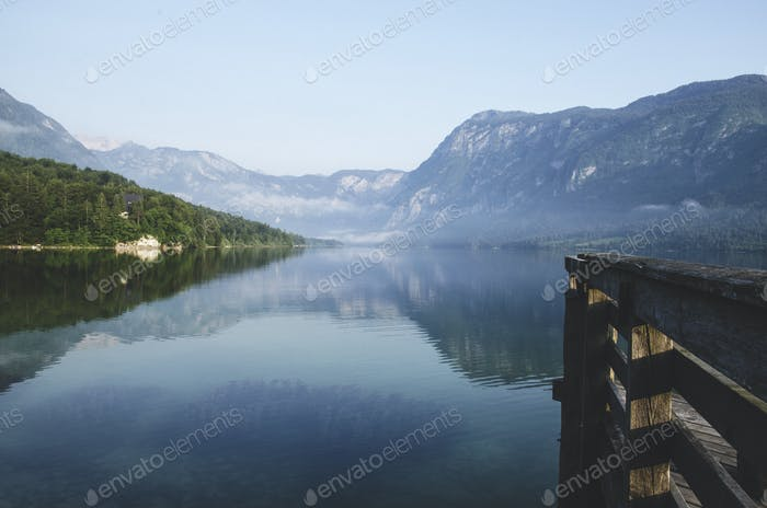 Peaceful morning at Bohinj Lake