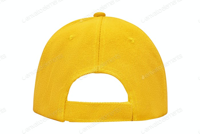 Yellow baseball cap back view isolated