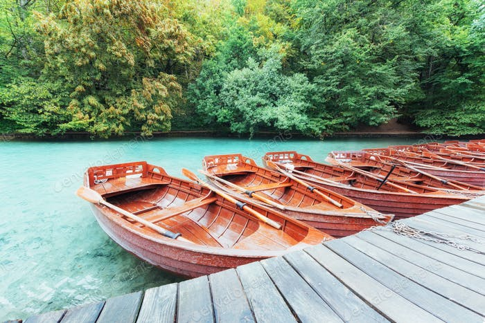 Wooden Boats on Plitvice Lakes in Croatia
