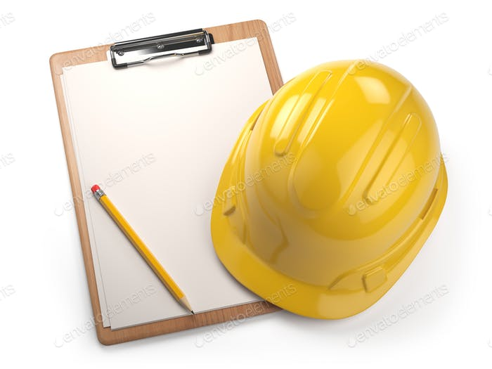 Hard hat with clipboard isolated on white background. Constructi